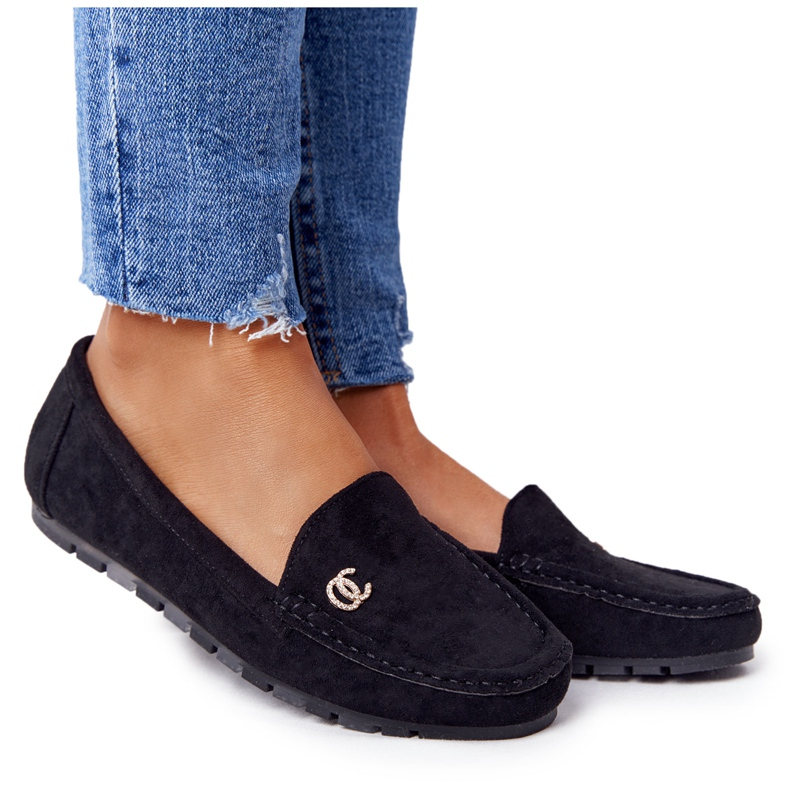 PS1 Women's Black Suede Loafers Madelyn
