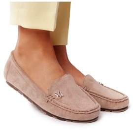 PS1 Women's Suede Loafers Beige Madelyn