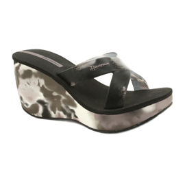 Women's Ipanema 83071 Lipsick Straps VII wedge slippers black grey