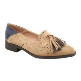 Daszyński Openwork Suede Loafers With Fringes MR2062-5 beige blue