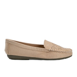 Beige loafers with an openwork Justine toe