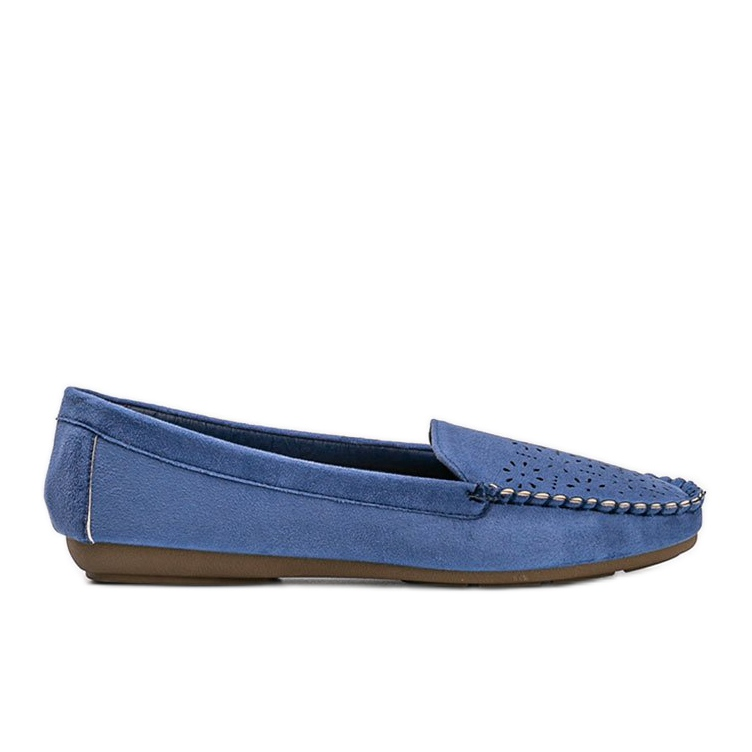 Blue loafers with an openwork Justine toe