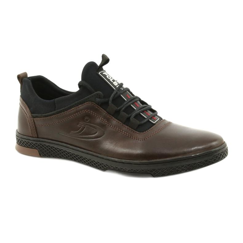 Polbut Casual leather men's shoes K24 908 brown black