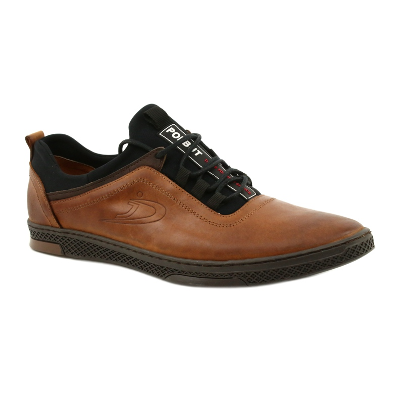 Polbut Men's leather casual shoes K24 1337 brown