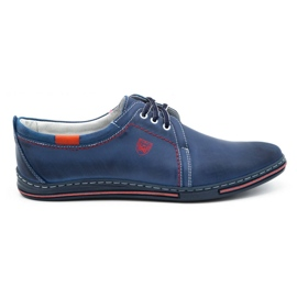 Polbut Leather men's shoes 343 navy blue red