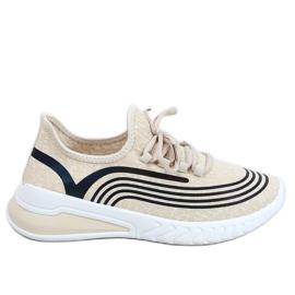 Beige socks 3436 Beige sports shoes