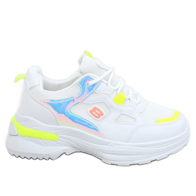 Women's white and yellow sports shoes HX-68 Yellow multicolored