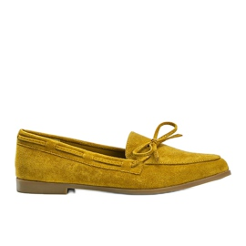 Mustard loafers made of Kierra eco-suede yellow