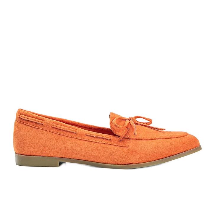 Orange moccasins made of Kierra eco-suede