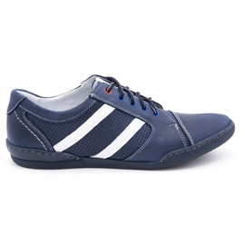 Polbut Men's casual shoes R3 Perforation Navy blue with white multicolored