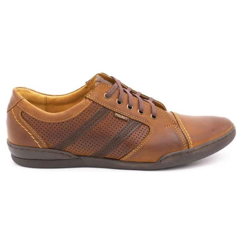 Polbut Casual men's shoes R3 Perforation Camel brown