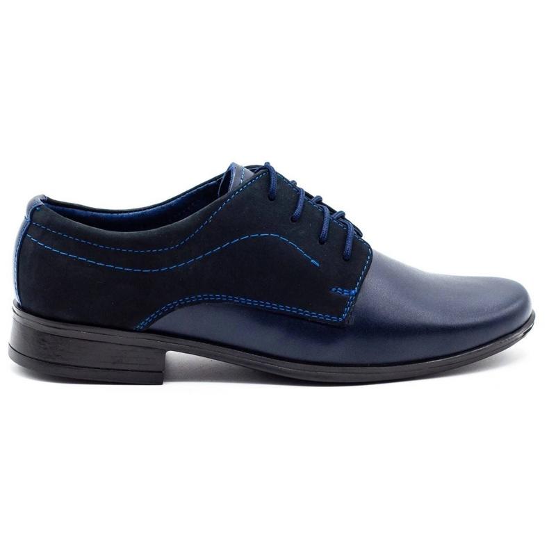 Lukas Children's formal communion shoes J1 navy blue with nubuck