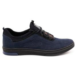 Polbut Men's casual leather shoes K24 navy blue suede