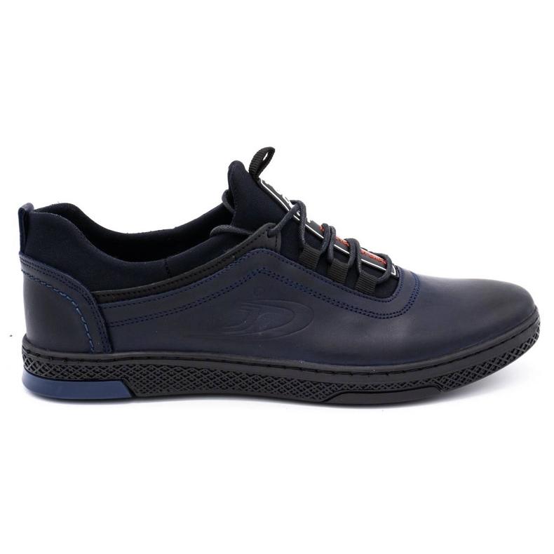 Polbut Men's casual leather shoes K24 dark navy blue