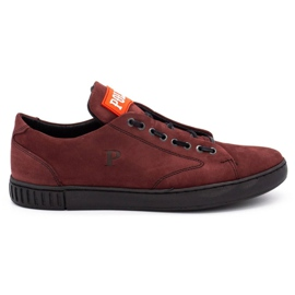 Polbut Men's leather shoes 2106 burgundy red multicolored