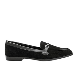 Black loafers in eco suede from Juliette