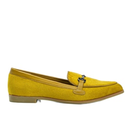 Mustard loafers made of Juliette eco-suede yellow