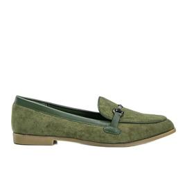 Green eco-suede Juliette loafers