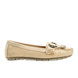 Beige eco-suede loafers from Maia