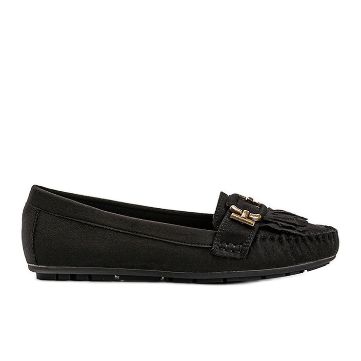 Black eco-suede loafers from Maia