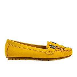 Yellow eco-suede loafers from Maia