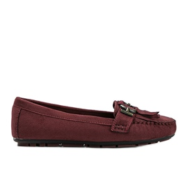 Maroon eco-suede loafers from Maia red
