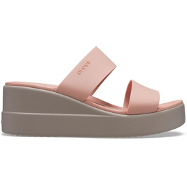 Crocs Women's Slippers Brooklyn Mid Wedge Pink-Beige 206219 6RL