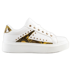 SHELOVET White Sneakers On Platform black yellow