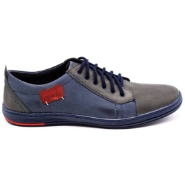 Olivier Men's leather shoes 695MP navy blue red grey