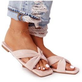 PS1 Women's Pink Velor Slippers Vanilla Sky beige