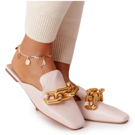 PS1 Beige Slippers With Uppers And Chain Beige Call On Me