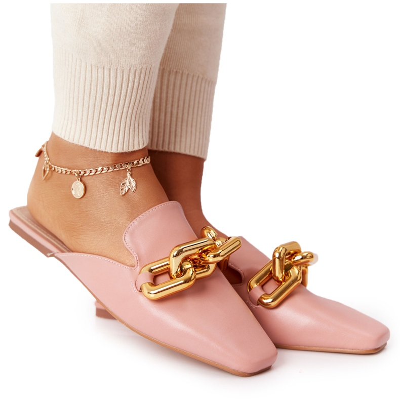 PS1 Pink Call On Me Slippers With Uppers And Chain golden