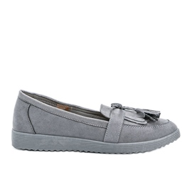Magdalena gray loafers with fringes grey