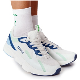 Women's Sport Shoes Memory Foam Big Star HH274810 White-Green blue