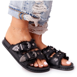 PS1 Slippers With Buckles And Fur Black Lydia
