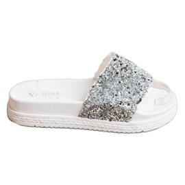 Seastar Fashionable Slippers On Platform white silver