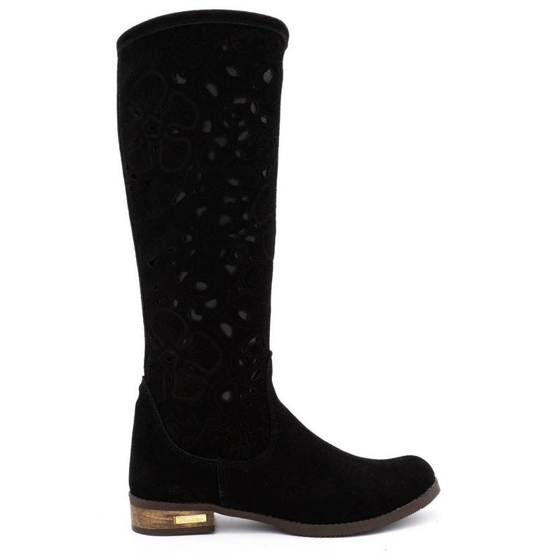 Olivier Women's openwork boots Black flowers