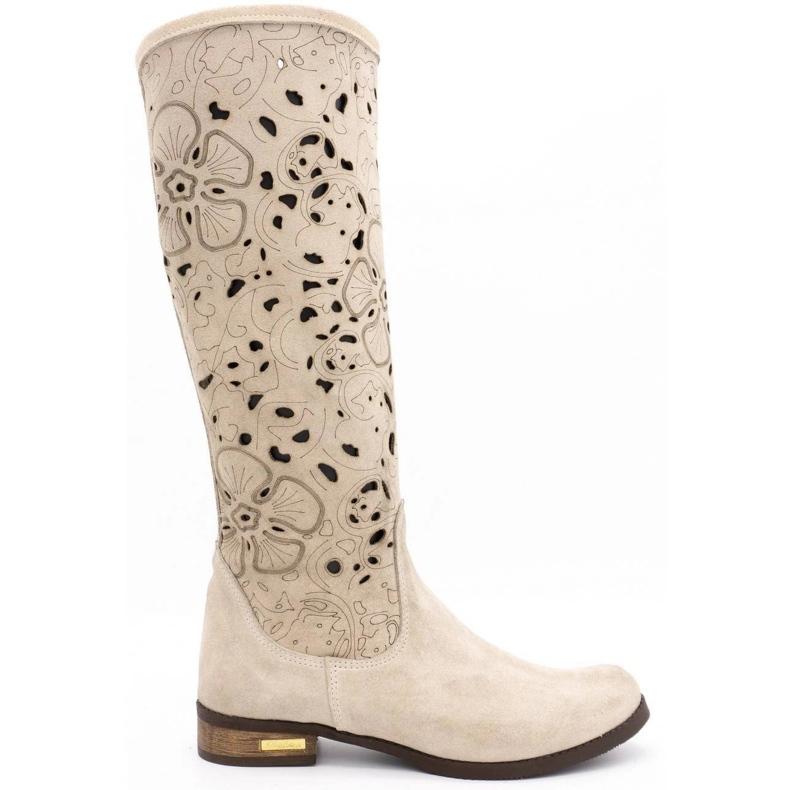 Olivier Women's openwork boots Light beige flowers