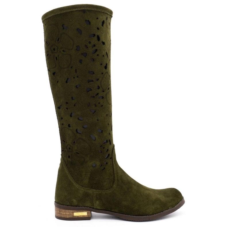 Olivier Women's openwork boots Flowers green