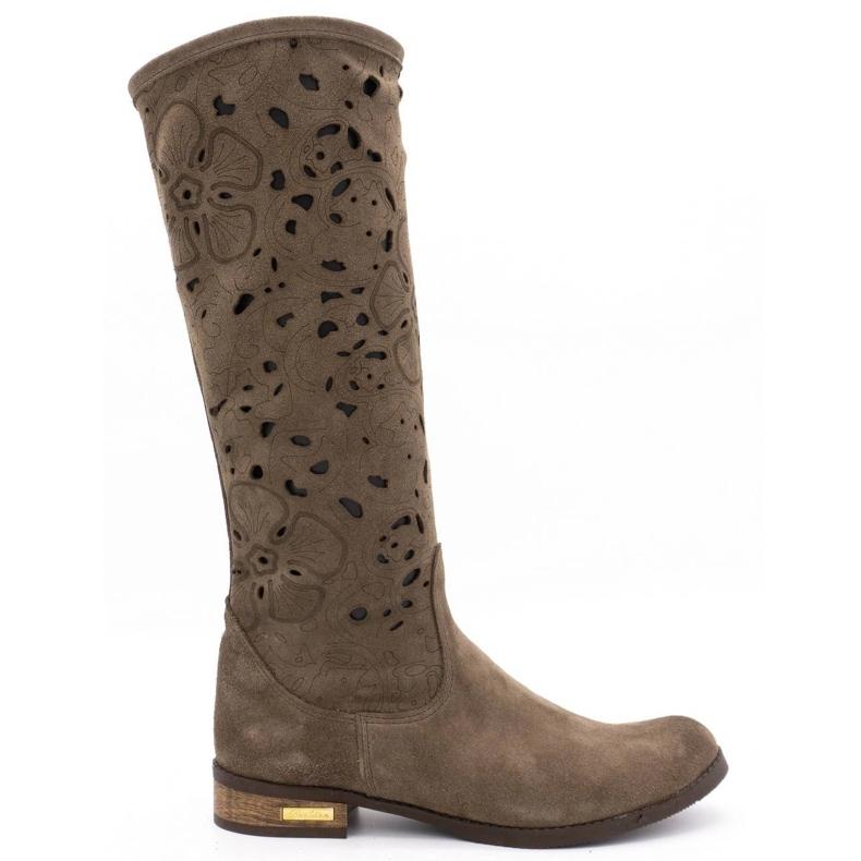 Olivier Women's openwork boots Flowers brown