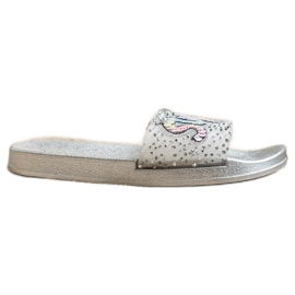 SHELOVET Super sequin slippers colorless silver