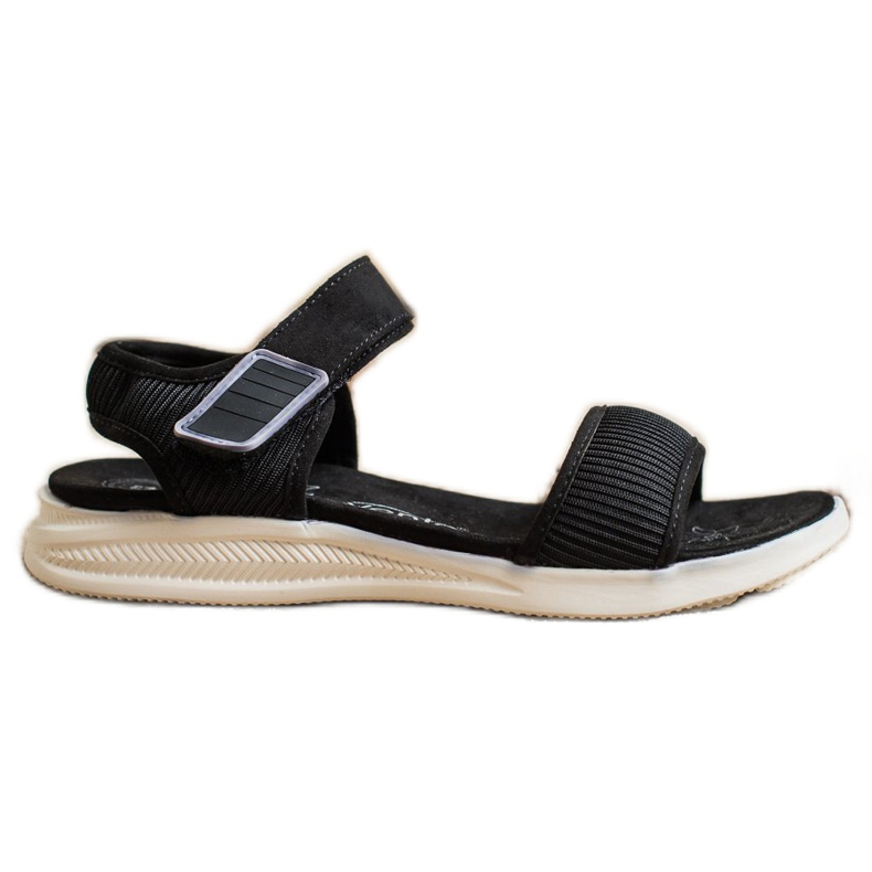 Evento Comfortable Sandals With Velcro black
