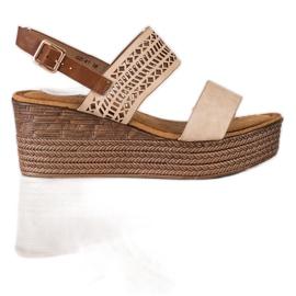 S. BARSKI Beige Sandals Na Koturnie S.BARSKI brown