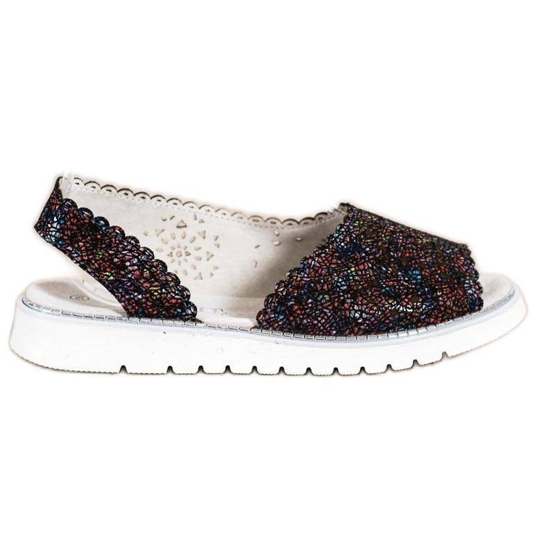 SHELOVET Comfortable leather sandals black multicolored