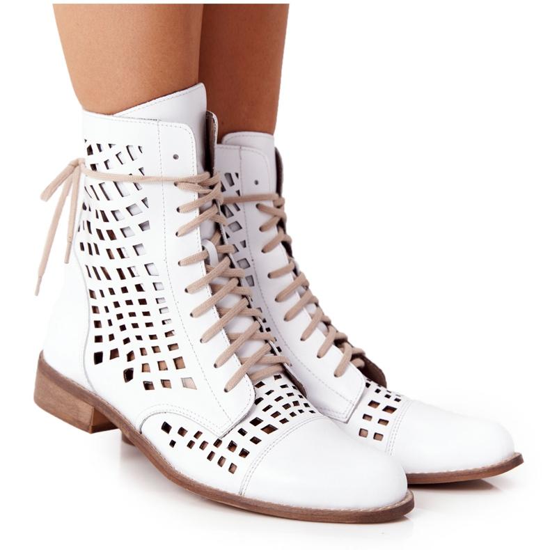 Openwork leather boots Nicole 2627 White