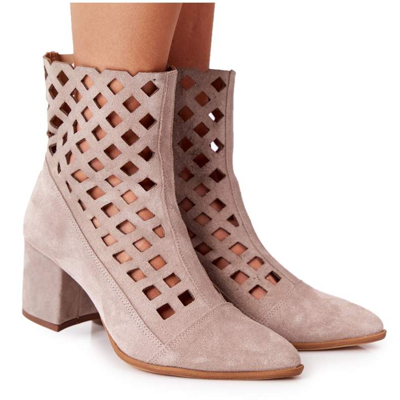 Suede Openwork Boots On High Heel Nicole 2638 Cappuccino beige