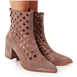 Suede openwork boots on high heels Nicole 2638 Brown