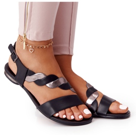 Leather Sandals Vinceza 21-17117 Black and Silver
