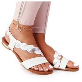 Leather Sandals Vinceza 21-17117 White and Silver