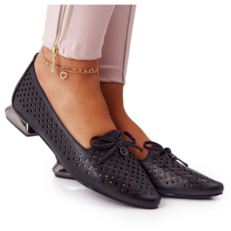 Openwork Loafers On Silver Heel Vinceza 21-10602 Black